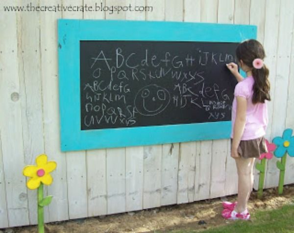 Prevent Your Outdoor Chalkboard from Rotting Also love the frame and wood flowers-cute for the kids playground in the yard