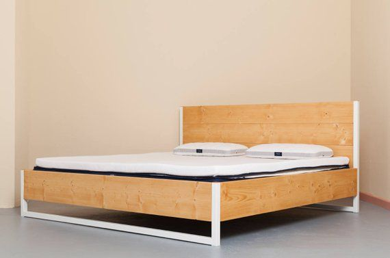 Bed Made From Recycled Timber And Steel Luberon Natur With