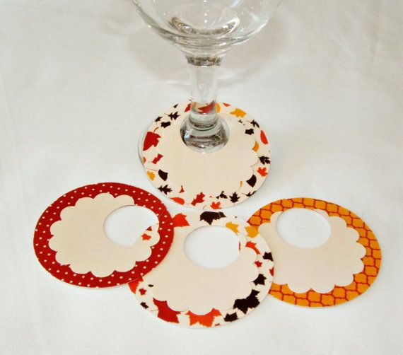 Fall Wine Glass Charms, Drink Markers, Place Cards by 4alloccasionfavors,