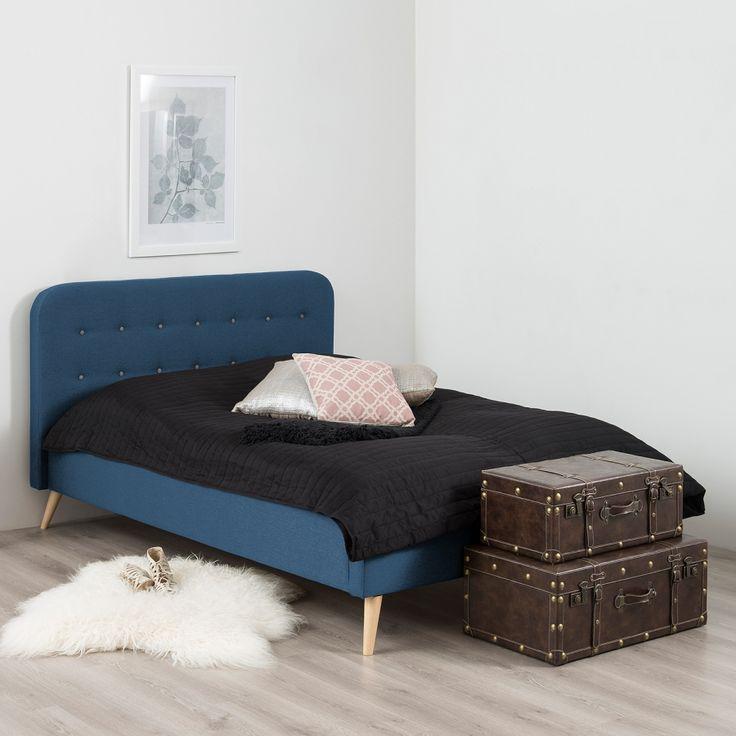 Lit double Klink II - Tissu - 200 x 200cm - Bleu foncé