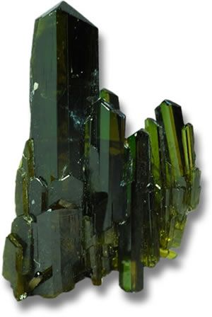 Epidote is a silicate mineral that is often recognized by its pistachio green color. chemical composition, epidote is a calcium aluminum iron silicate. It has a hardness of 6 to 7 on the Mohs scale. One of its distinguishing characteristics is strong pleochroism, where crystals display different colors -- green, brown and yellow -- as they are viewed from varying angles.