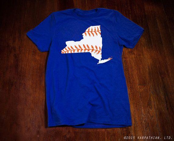 New York baseball royal blue shirt orange and white by watatees