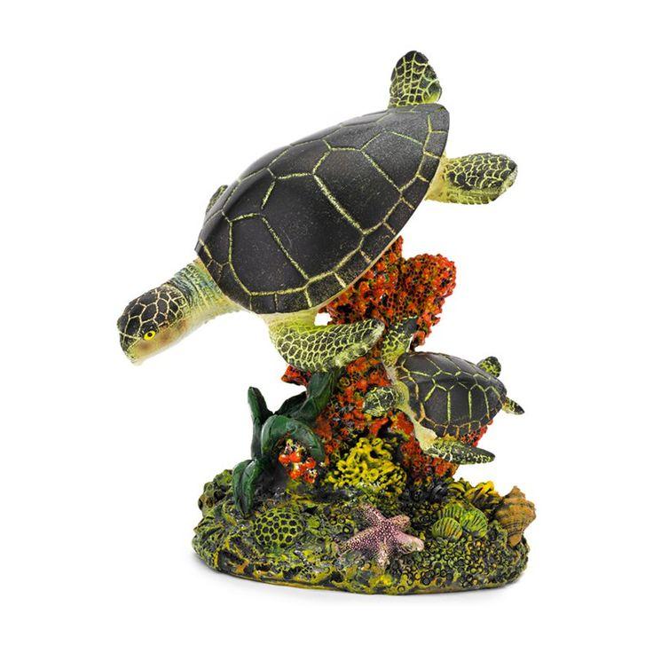Penn Plax Swimming Sea Turtles Aquarium Figure - Medium - 3.25L x 5H in. - RR1110