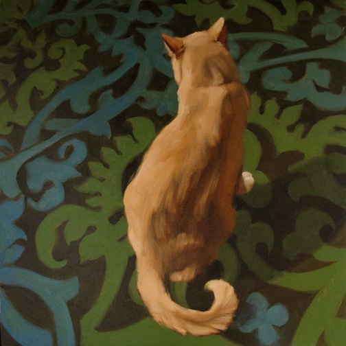 """""""Monday's Cat"""" Oil on wood, 10"""" x 10"""" by Diane Hoeptner"""