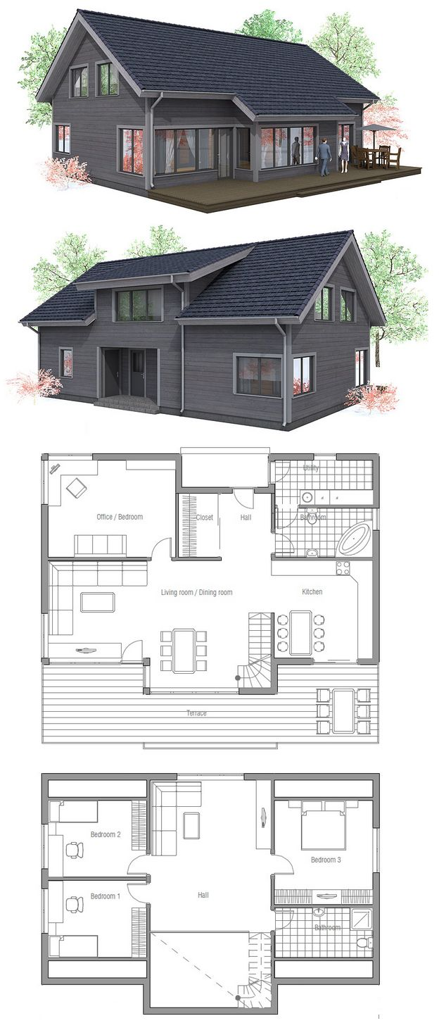 Great plan! But would maybe eliminate the office/bedroom on the first floor and turn the master into 2 bedrooms - mirror the 2 beds on the other side of the second floor.