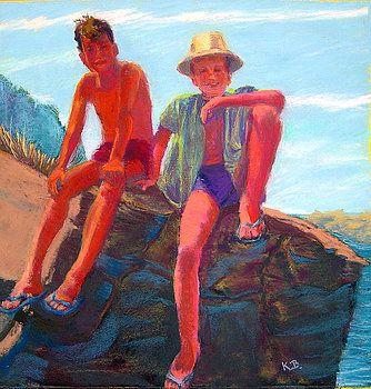 Brad and Jeff on Rock by Katherine  Berlin