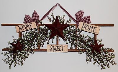 Handcrafted Country Primitive Decorative Home Sweet Home Ladder Pip Berrys Stars