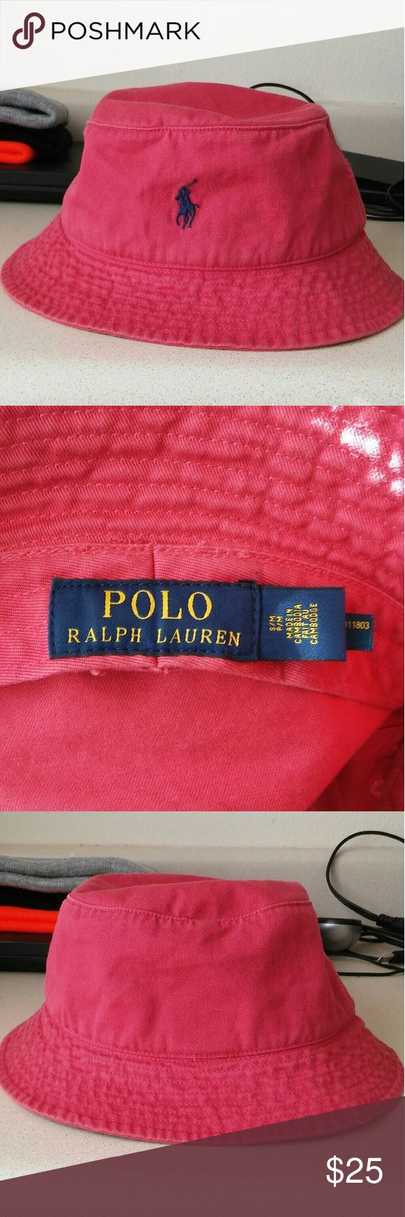 POLO Ralph Lauren Bucket Hat Soft Red Bucket Hat with Navy Blue Ralph Lauren Symbol.....Nice Condition Gently Used Ralph Lauren Accessories Hats