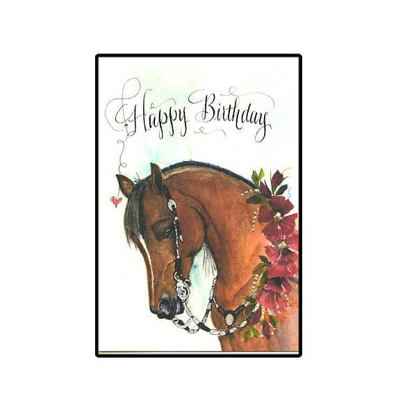 Western Show Horse Birthday Card In Watercolor With Etsy Horse Happy Birthday Image Happy Birthday Horse Horse Birthday