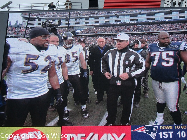 I know it's the jumbotron but Ray Lewis looks mean!    My brother and I attended the 2012 AFC Championship game at Gillette Stadium. The Patriots won 23-20 in an AMAZING game.    I was sitting in the North end zone 12 rows from the field shooting with my trends of sports you will like it!