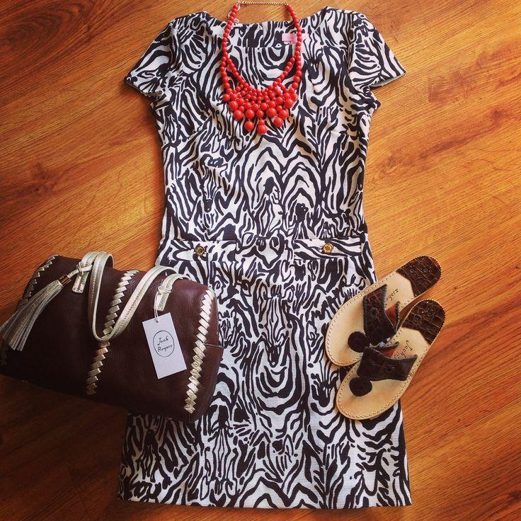 Wearing zebra never looked so good!   #zebra #lillypulitzer #jackrogers #fall #popofcolor #poc #purses #accessories