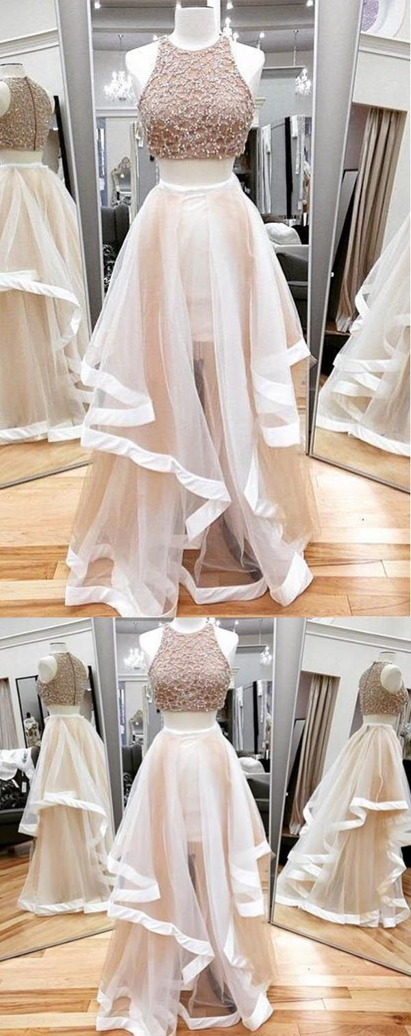 A-line Two Piece Tulle Prom Dresses Party Dresses Evening Dresses PG515 #TWOPIECE #promdress #eveningdress ##tulle #partydress #beading #pgmdress