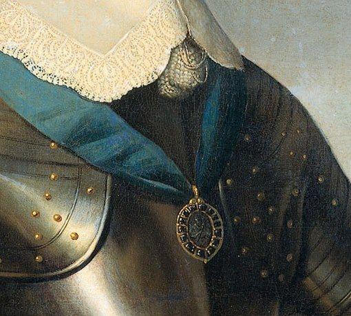 Particolari di opere 3. Scuola di Gerard von Honthorst: Ritratto di Frederik Hendrik, principe di Orange. Olio su tela, del 1650. Huygensmuseum Hofwijck, Voorburg. Collettone legato con cordicelle con nappe finali, dal pizzo a traforo fitto: i magnifici colletti venivano cambiati di sovente, per questo erano staccati dall'abito: l'armatura satinata ha tutti i rivetti in bronzo dorato