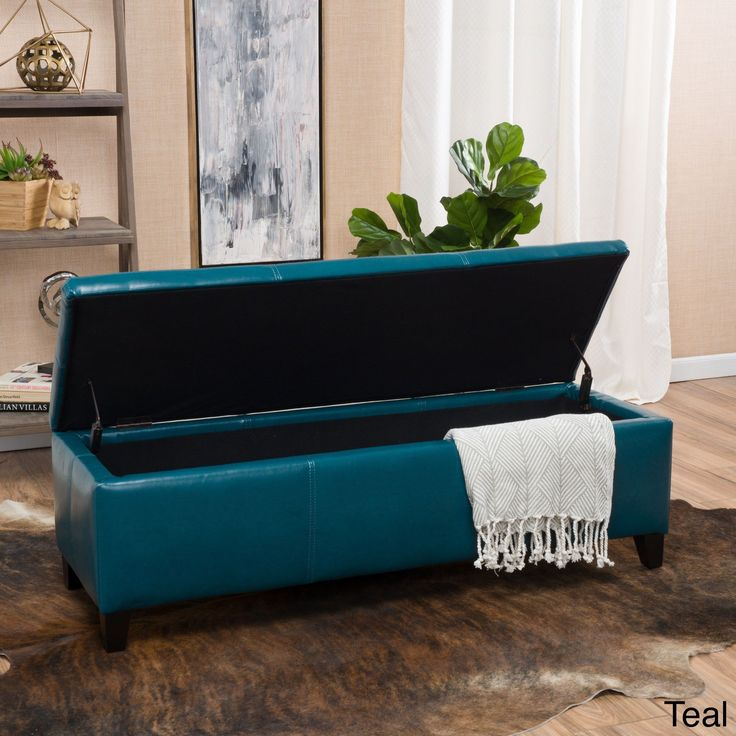 Lucinda Faux Leather Storage Ottoman Bench by Christopher Knight Home (Teal), Blue