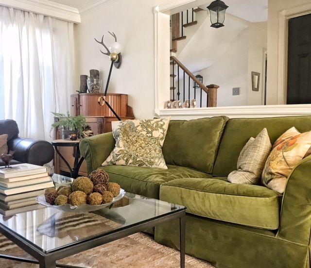 Moss Green Velvet Couch