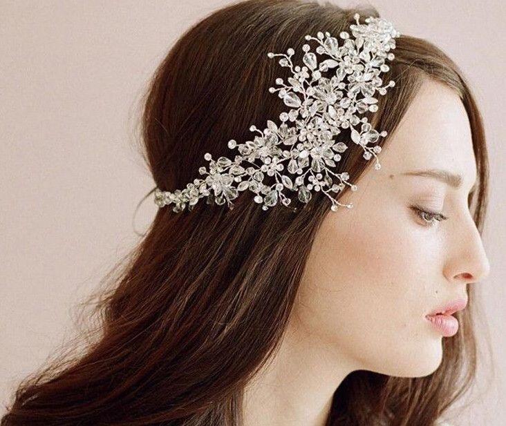 wedding romantic crystal rhinestone flower headband bride high quality beads handmade hair jewelry bridal hair accessories