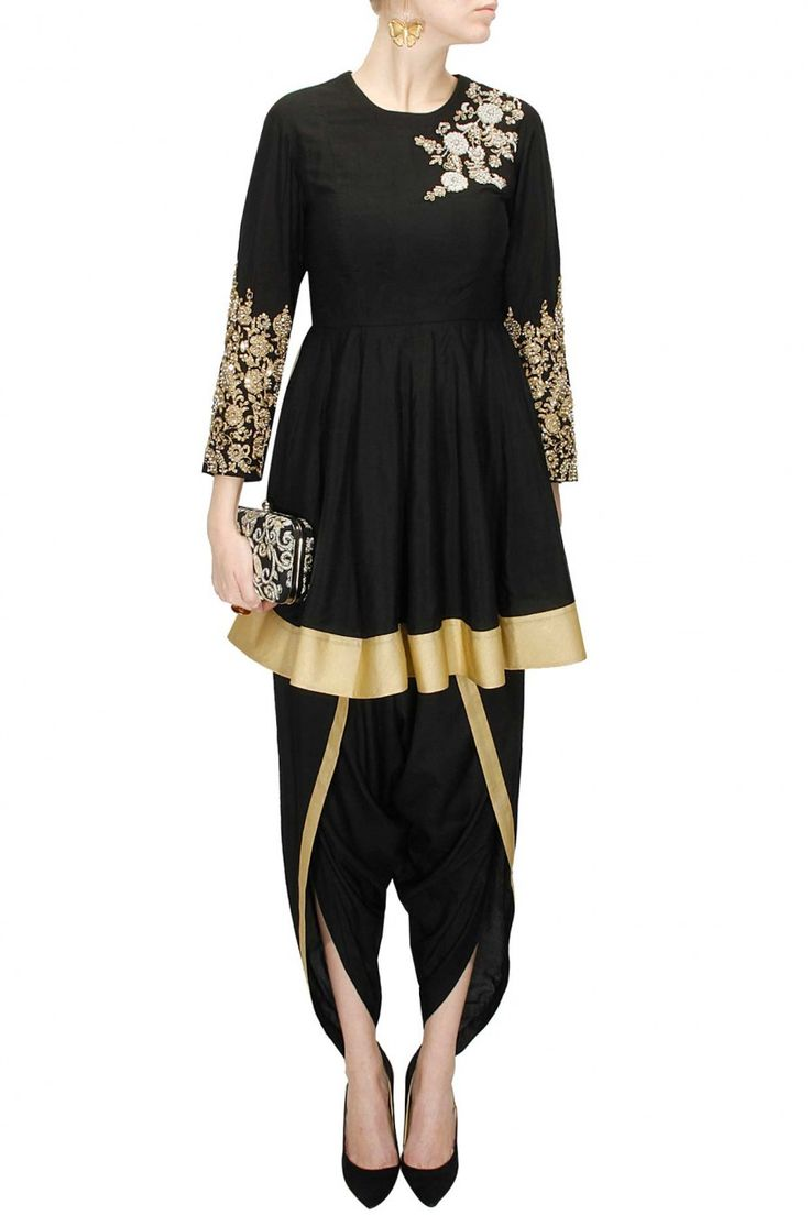 Black embroidered flared kurta with black dhoti pants available only at Pernia's Pop-Up Shop.