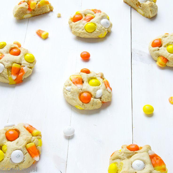 Candy Corn White Chocolate M&Ms Cream Cheese Cookies