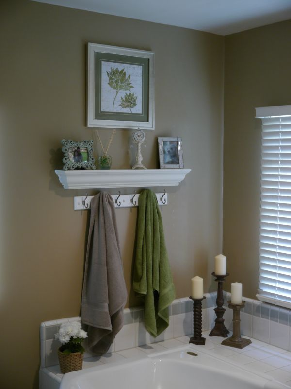 pictures to hang in master bathroom%0A Master Bathroom wall idea  shelf with towel hooks below