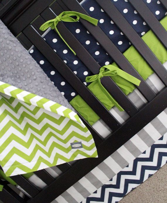 Navy Green and Grey Crib Bedding Lime Green by GiggleSixBaby