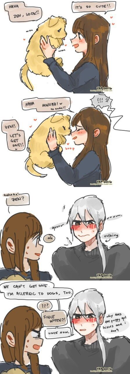 Awwww~ Zen y sus celos hasta de los perritos