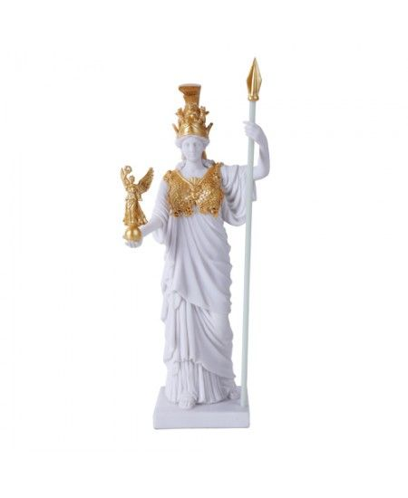 Athena, Greek Goddess of War White and Gold Statue
