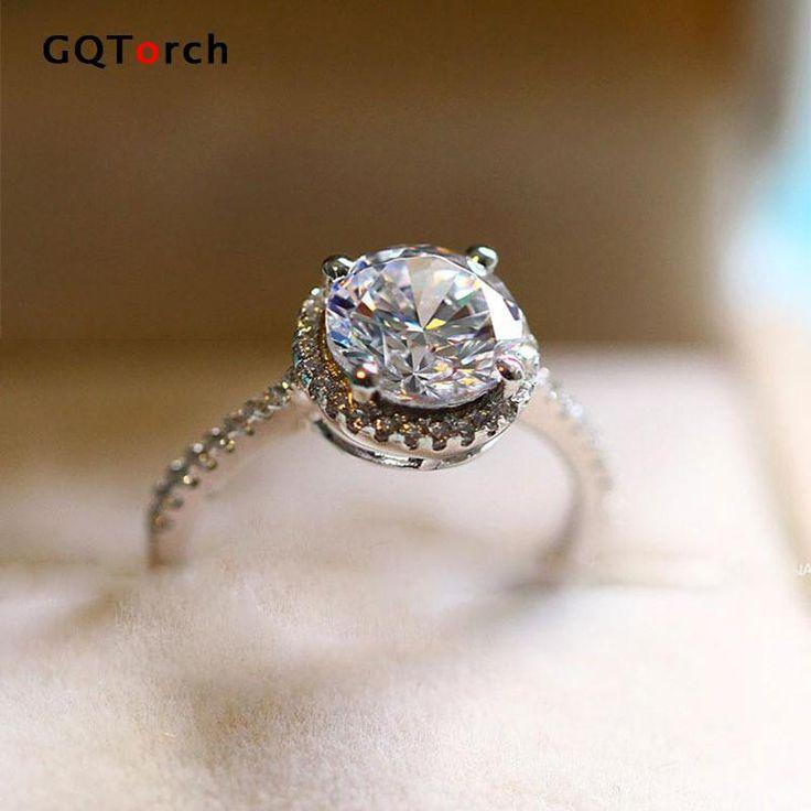 Principessa Cut Anelli di Fidanzamento Per Le Donne Solitario 1.2 Carati Cubic Zirconia CZ Diamante Oro Bianco Placcato Gioielli di Moda