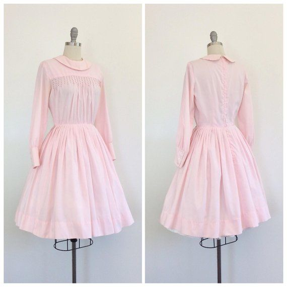60s Pink Long Sleeve Fit and Flare Dress  1960s Vintage Day Dress  Medium  Size 6