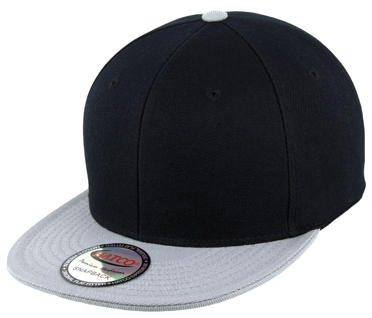 Blank Acrylic Two-Tone Snapback Cap - Black/Light Grey