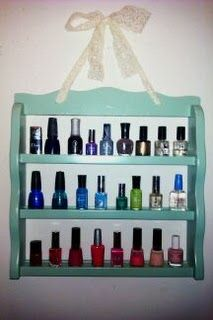 clever nail polish storage. Neat use of an old spice rack