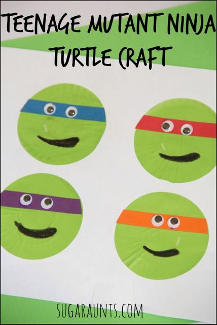 Your TMNT fan will love this Teenage Mutant Ninja Turtle cupcake liner craft. From Sugar Aunts