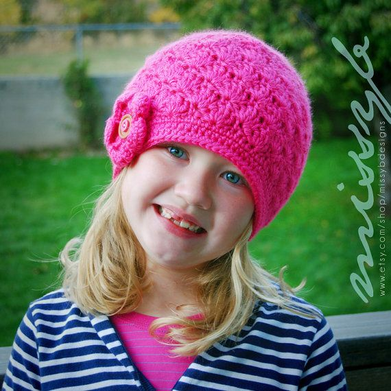 Easy Crochet Hat Pattern - Girls Shell Hat - child size - Fun Photography Prop - Instant Download