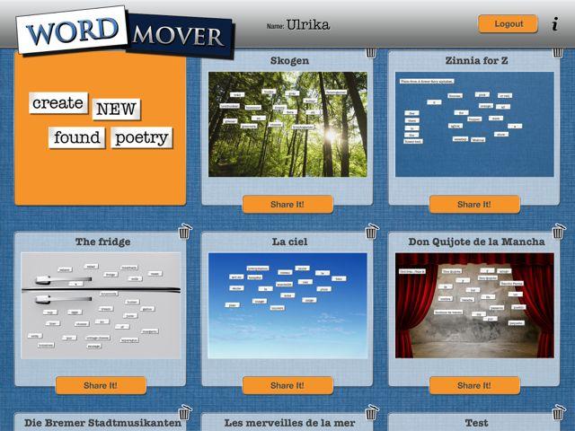 Word Mover - här kan du lägga in egna ord och meningar. Perfekt för att träna ordföljd. Bra betyg och recension på Skolappar.nu.