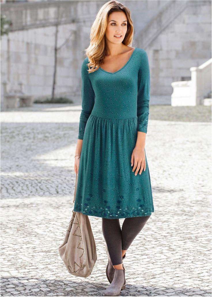 Vestido de malha verde azulado / azul escuro / menta claro / azul petróleo estampado encomendar agora na loja on-line bonprix.de  R$ 99,90 a partir de Com ...