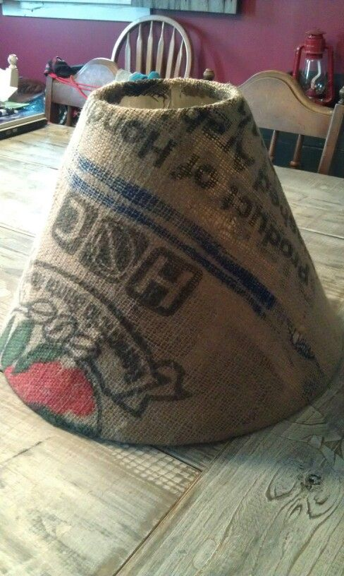 Upcycled burlap coffee sack to makeover an ordinary lampshade