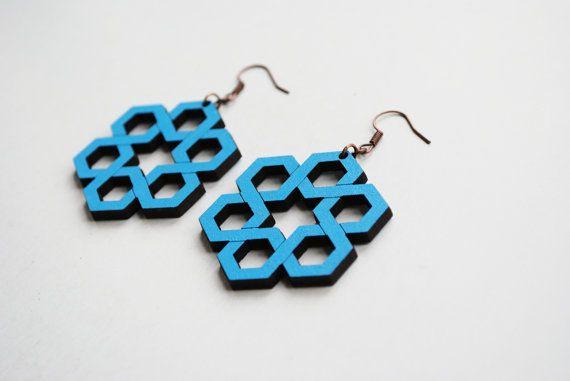 Hexagonal knot earrings  endless knot earrings by elfinadesign