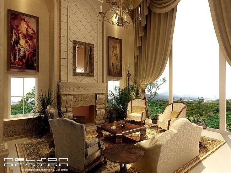 great room furniture   Mediterranean Living Room with Cement fireplace & Chandelier   Zillow ...