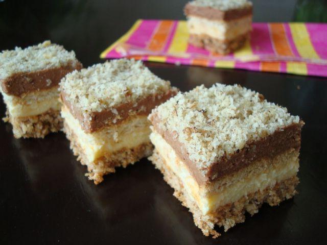 Tento koláčik je veľmi chutný a pestrý..Skladá sa z niekoľkých jednoduchých vrstiev . Na pohľad vám možno príde zložitý ale to vôbec nieje pravda. Piškóta: 6 vaječných bielkov 200 g cukru 150 g vlašských...