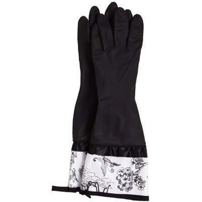 Jessie Steele Rubber Gloves Black with Cafe Toile