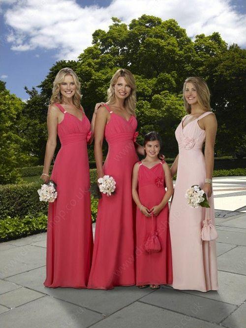 Sheath/Column Straps Chiffon Floor-length Flower(s) Bridesmaid Dresses -£56.89