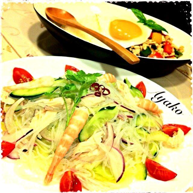 今日は、タイ料理の気分だったので〜(≧∇≦) - 178件のもぐもぐ - ヤムウンセン(タイ風春雨サラダ)、ガパオ by ayako1015