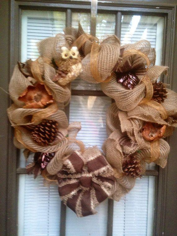 Beautiful burlap and  burlap mesh wreath di kathyleeskreations