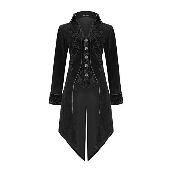 Devil Fashion Mens Coat Jacket Black Velvet Goth Steampunk Aristocrat... ($165) ❤ liked on Polyvore featuring men's fashion, men's clothing, men's outerwear, gothic mens clothing, mens clothing, men's apparel and goth mens clothing #MensFashionCoat