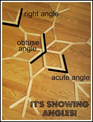 It's snowing angles! Identify acute, obtuse, and right angles. Math art