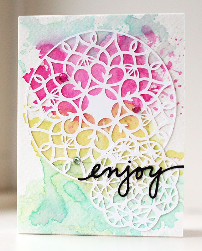 The Silhouette can cut intricate designs like this Watercolor Doily Card | Kalyn Kepner for Silhouette