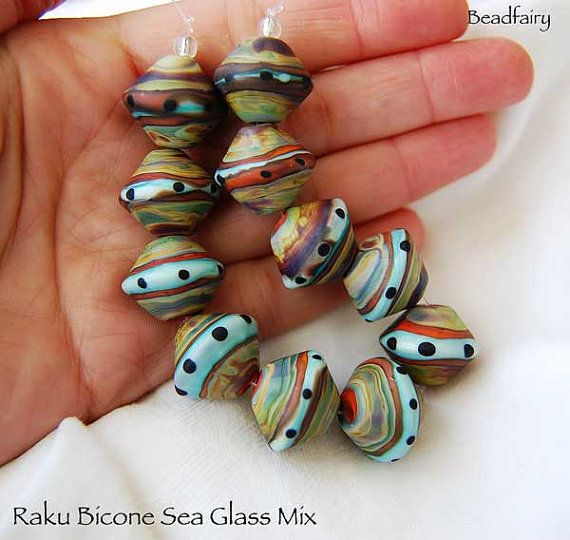 8 large raku mix bicones seaglass lampwork beads by beadfairy