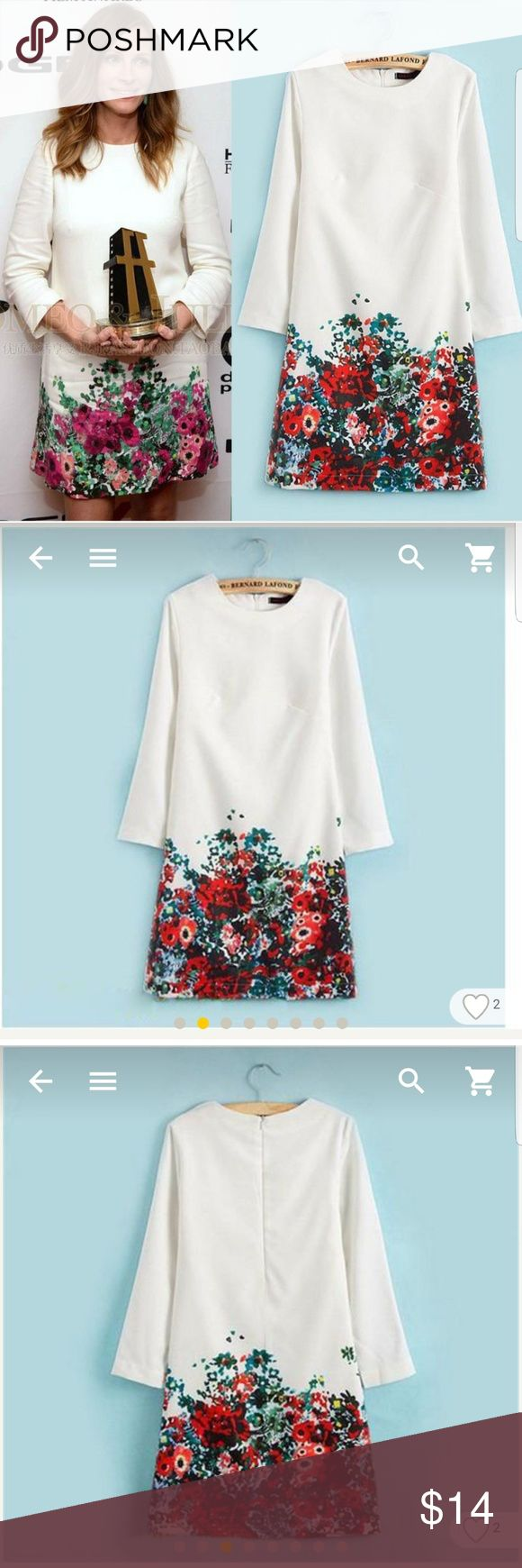 Celebrity inspered smart casual dress Spring and summer white elegant dress with a bright flower pattern. Fully lined, zipper closure, long sleeves, but lightweight material. Dresses Mini
