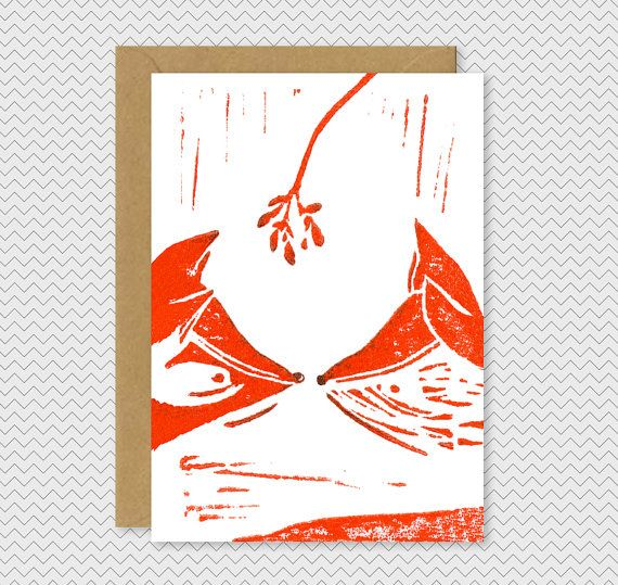 Funky Christmas Card  Two orange foxes kissing by IvoryMintCards