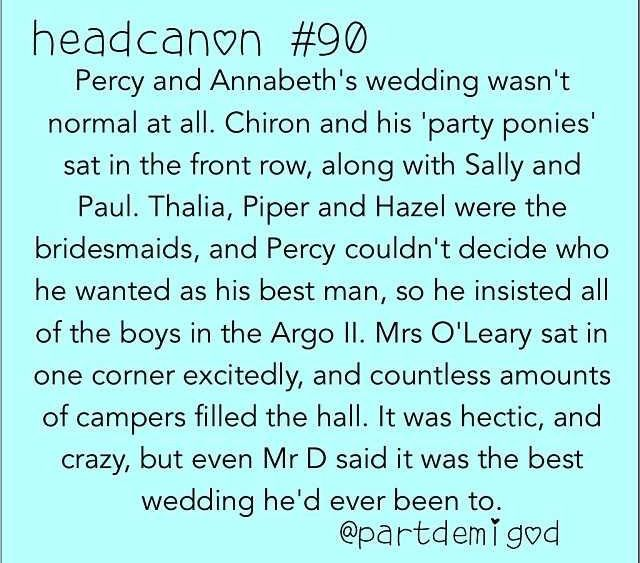 Percabeth wedding. Cute except Grover is most definitely best man. Hands down.