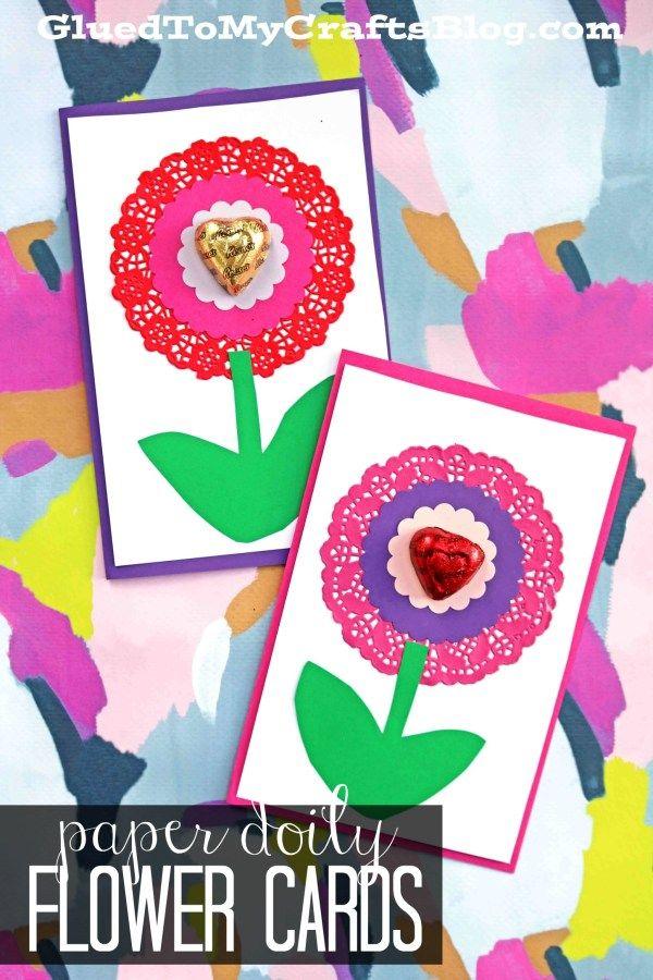 Paper Doily Flower Valentine Cards Valentine Crafts Valentine